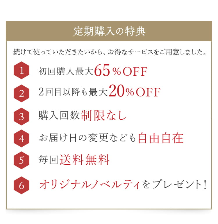 「定期購入の特典」続けて使っていただきたいから、お得なサービスをご用意しました。/(1)2回目以降も最大20%OFF/(2)購入回数制限なし/(3)毎回送料無料/(4)お届け日の変更なども自由自在/(5)毎回送料無料/(6)オリジナルノベルティをプレゼント!