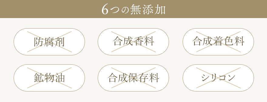 6つの無添加/防腐剤/合成香料/合成着色料/鉱物油/合成保存料/シリコン