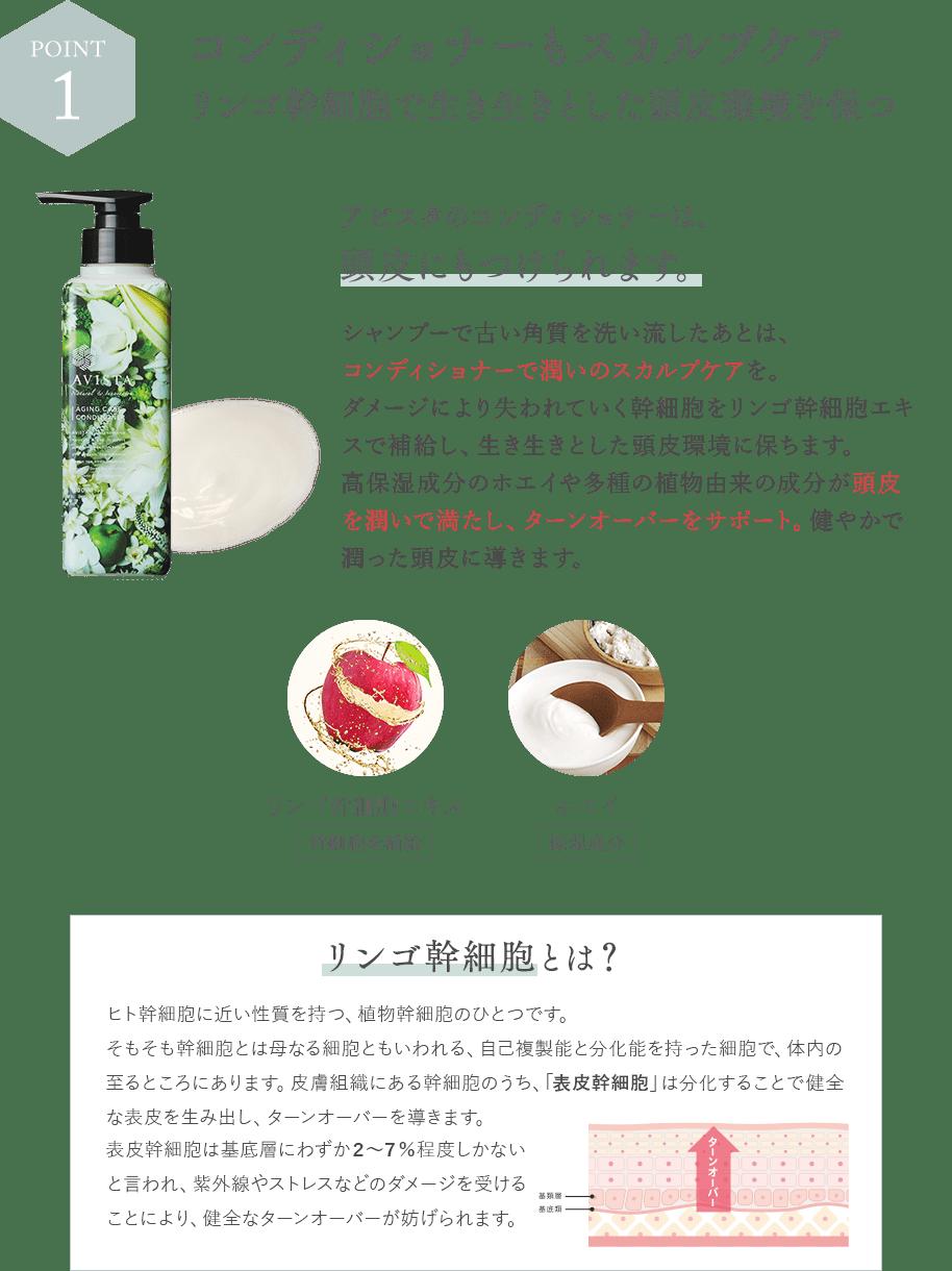 [POINT1]コンディショナーもスカルプケアリンゴ幹細胞で生き生きとした頭皮環境を保つ/アビスタのコンディショナーは、頭皮にもつけられます。/シャンプーで古い角質を洗い流したあとは、コンディショナーで潤いのスカルプケアを。ダメージにより失われていく幹細胞をリンゴ幹細胞エキスで補給し、生き生きとした頭皮環境に保ちます。高保湿成分のホエイや多種の植物由来の成分が頭皮を潤いで満たし、ターンオーバーをサポート。健やかで潤った頭皮に導きます。/リンゴ幹細胞エキス(幹細胞を補給)/ホエイ(保湿成分)/「リンゴ幹細胞とは?」ヒト幹細胞に近い性質を持つ、植物幹細胞のひとつです。そもそも幹細胞とは母なる細胞ともいわれる、自己複製能と分化能を持った細胞で、体内の至るところにあります。皮膚組織にある幹細胞のうち、「表皮幹細胞」は分化することで健全な表皮幹細胞は基底層にわずか2~7%程度しかないと言われ、紫外線やストレスなどのダメージを受けることにより、健全なターンオーバーが妨げられます。