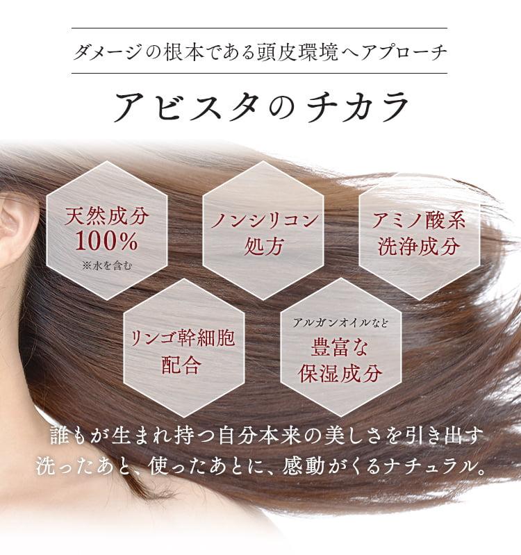 ダメージの根本である頭皮環境へアプローチアビスタのチカラ/天然成分100%※水を含む/ノンシリコン処方/アミノ酸系洗浄成分/リンゴ幹細胞配合/アルガンオイルなど豊富な保湿成分/誰もが生まれ持つ自分本来の美しさを引き出す洗ったあと、使ったあとに、感動がくるナチュラル。